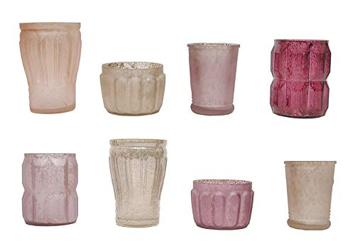 YarStore Charming Decorative Set of 8 Mercury Glass Tealight Holders in Cream and Taupe