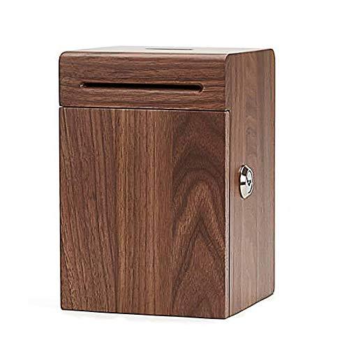 ZAKRLYB Hucha de madera maciza con llave de madera natural de nuez de madera grande y duradera caja de monedas resistente al agua, mejor regalo, niño, niña, adecuado para sala de estudio, decoración d