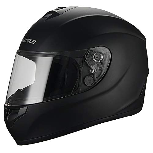 Black Full Face Lightweight, Aerodynamic, Comfortable Street Bike Motorcycle Black Helmet Adult DOT