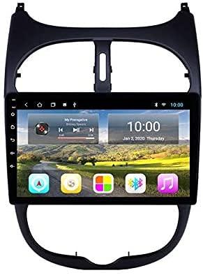 AEBDF Android UN Stereo para Peugeot 206, Sat Nav Multimedia Bluetooth Pantalla de Bluetooth Pantalla táctil GPS Navegación Radio Soporte Mirror Carplay Incorporado,S3 8Core WiFi+4G 2+32GB