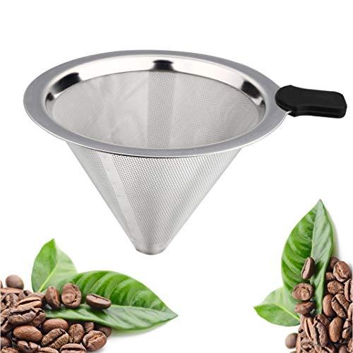 BSET BUY Edelstahl Wiederverwendbare Kaffee Filter mit Tassenhalterung Dripper zum Aufbrühen