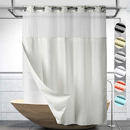 Lagute SnapHook Hook Free Shower Curtain with Snap-in Liner & See Through Top Window | Hotel Grade, Machine Washable & Water Repellent | 71Wx74L, Light Grey