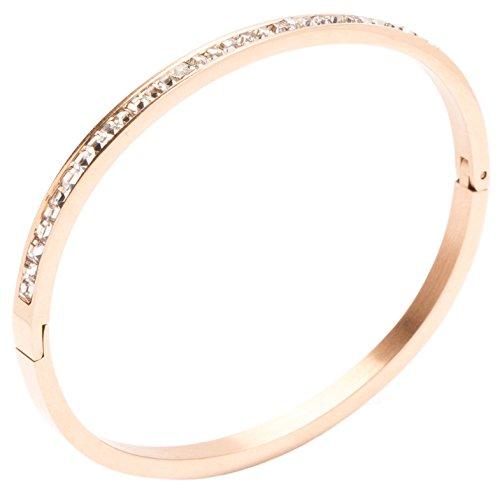 Happiness Boutique Damas Brazalete en Oro Rosa con Diamantes de Imitación de Color Claro | Brazalete Rígido de Diseño Minimalista Libre de Níquel