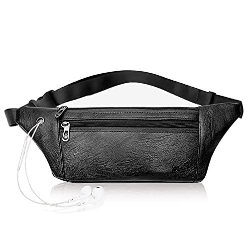 Best Waterproof Leather Fanny Pack Purse for Women Men Running Hiking Waist Pack Black Belt Bag Lightweight Travel Waist Pouch Phone Bum Bag Fanny Pack
