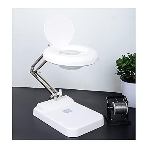 LQ&XL Lámpara de escritorio con lupa LED, 10X/20X/30X, lámpara de escritorio, regulable sin niveles, con base para reparar, leer, manualidades/White glass 20X