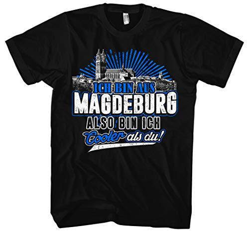 Cooler als du Magdeburg Männer Herren T-Shirt | Fussball Skyline Trikot Sport Ultras Fun (4XL)