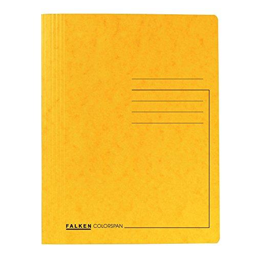 Original Falken 25er Pack Premium Schnellhefter. Made in Germany. Aus extra starkem Colorspan-Karton für DIN A4 kaufmännische Heftung gelb Hefter ideal für Büro und Schule