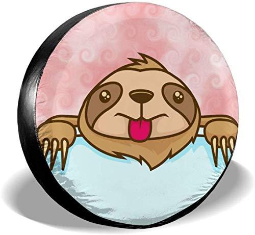 MODORSAN Cute Sloth in The Pocket Cubierta de neumático de Rueda de Repuesto Cubiertas de Rueda universales de poliéster para Jeep Trailer RV SUV Accesorios de camión, 16 Pulgadas
