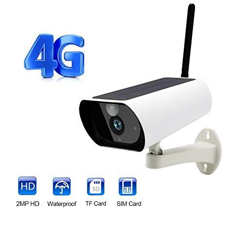 TONGTONG Cámara gsm inalámbrica de 4G con Tarjeta SIM, alimentada con energía Solar, para Seguridad al Aire Libre en Interiores, cámara IP Full HD 1080P