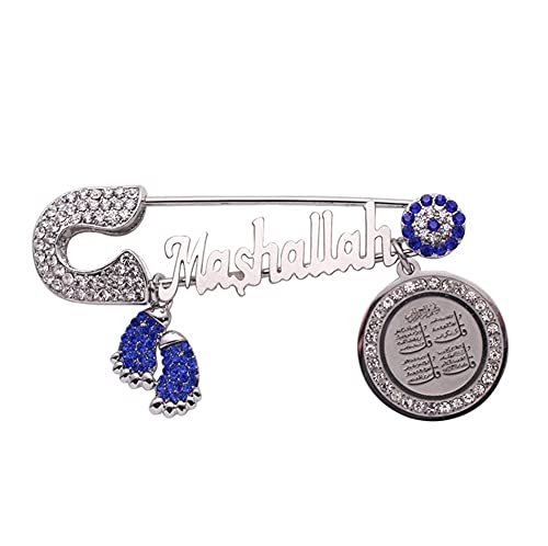 XiaoG Islam Muslim Quran Pendant Turkish Blue Evil Eye Baby Pin Brooches (Metal Color : Silver)