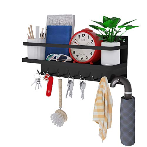 8 Hooks Magnetic Key Rack,Magnetic Shelf for Keys,Letters, Magazines,Coats,Key Holder,Used in Kitchen or Office,Made of Steel (Black, Large)
