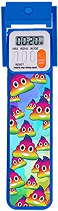 Mark-My-Time 3D Rainbow Poop Emoji Digital LED Book Light Digital Bookmark Reading Timer - Blue