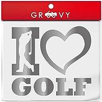 ゴルフ 好き シール i love golf プロ アマ ゴルファー 人気 車 デカール ステッカー エンブレム カスタム_084 (シルバー)