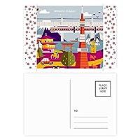 地元の有名な観光 クリスマスの花葉書を20枚祝福する