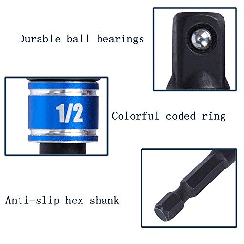 Impact Grade Driver Sockets Adapter Extension Set Drill Bit+Right Angle Drill,3Pcs 1/4 3/8 1/2