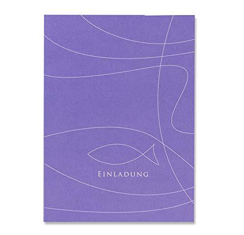 Einladungskarten 'Fisch' in Lila - zur Taufe, Kommunion oder Konfirmation - bedruckbare Karten