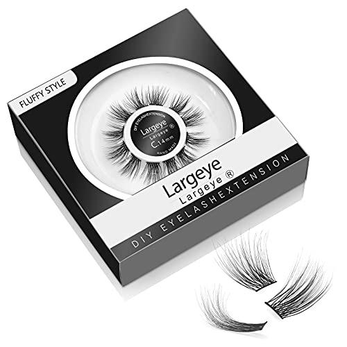 DIY Eyelash Extensions C Curl 3D Individual Glue Bonded Band Fluffy Natural Volume Lashes 10mm 12mm 14mm 16mm Fluffy Wispy False Eyelashes Set for Home Eyelash Extensions (16mm Fluffy)