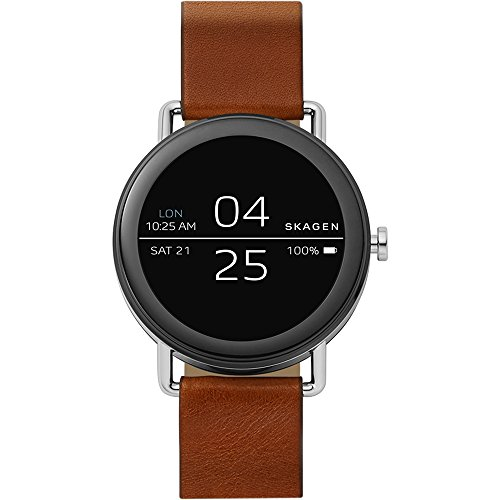 Skagen Connected Falster 1 Stainless Steel and Leather Smartwatch, Color: Silver-Tone, Brown (Model: SKT5003)