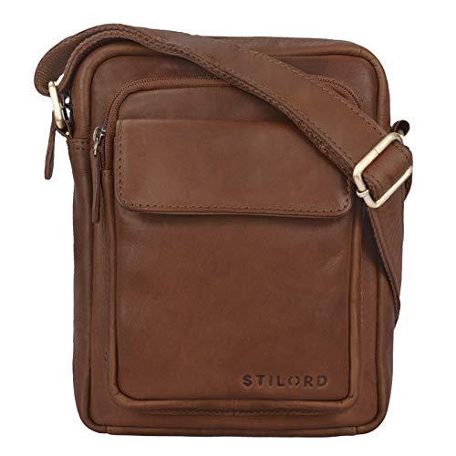STILORD 'Jannis' Lederen Schoudertas Mannen kleine Vintage Messenger Tablet Bag Men's Bag voor 9,7 inch iPad Schoudertas gemaakt van echt leer, Kleur:brasilia - bruin