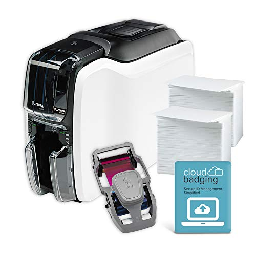 Zebra ZC100 LT ID Card Printer - Complete Supplies Package with CloudBadging Software, Blank Cards, and Ribbon