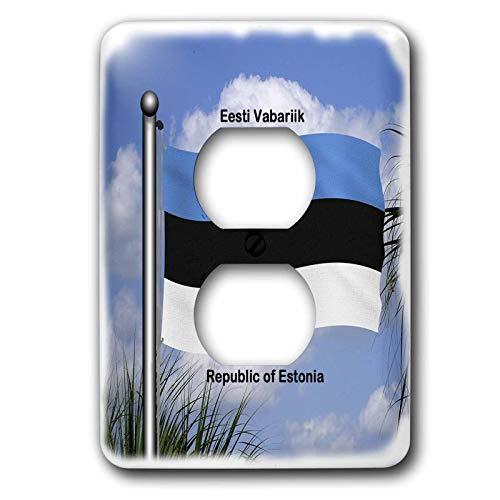 Einzelne Duplex-Steckdosen-Wandplatte, Steckdosen-Wandplatte Die Flagge Estlands winkt gegen den Himmel mit Republik Estland, geschrieben in Englisch und Estland, 2 Steckdosenabdeckungen
