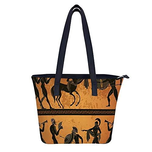 KUKUKA Bolso De Hombro Grecia Centauro Figura Negra Cerámica Mitología Griega Antigua Bolso De Mano De Cuero Para Mujer