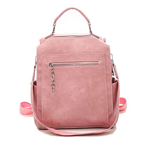 Xinkai Frauen Zipper Rucksack mit abnehmbarem Schultergurt (Color : Pink, Size : 26 * 14 * 30cm)