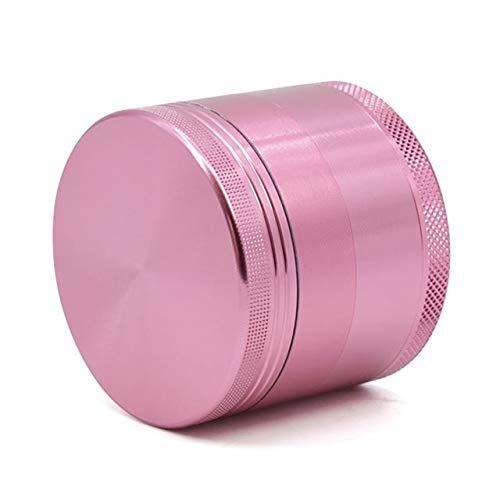 2.5' 4 Piece Herb Grinder With Pollen Catcher, Metal Spice Grinder, Zinc Alloy Herb Mill Grinder with Sharp Razor Teeth (Pink)