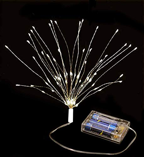 Fantastic Crafts LED White Cluster 'Starburst' Fairy Lights - 75 'Rice' Lights on Wired Stems - Battery Operated/Timer Function - Christmas, Holiday, Wedding, Events