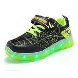 Elsaing Spiderman pour Enfants LED Chaussures garçons et Filles Chaussures de Sport Chaussures Clignotantes USB Chargements luminaires Chaussures Clignotant étanche Cuir Chaussures de Sport