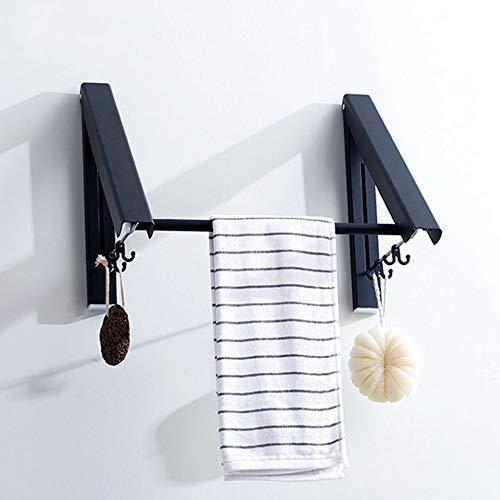 CBXSF Balcón Nórdica Contracción Invisible Tendedero Retráctil Cuerda De Tendedero Cubierto Corte Libre Baño Negro Montado En La Pared