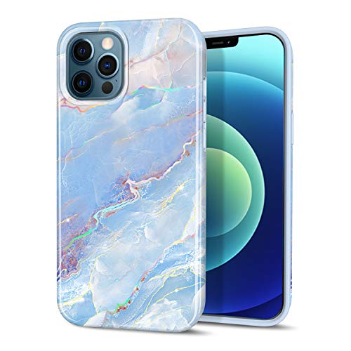 """CAOUME Compatible with iPhone 12 Pro Max Case Blue Marble Design Sparkly Glitter Protective Stylish Slim Thin Cute Holographic Cases for Apple Phone 6.7"""" 2020 Release, Soft TPU Silicone Bumper"""