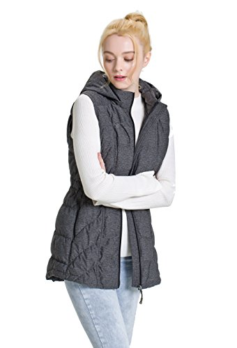 XPOSURZONE Down Puffer Vest Women Stretch Knit Vest with Hood Charcoal S