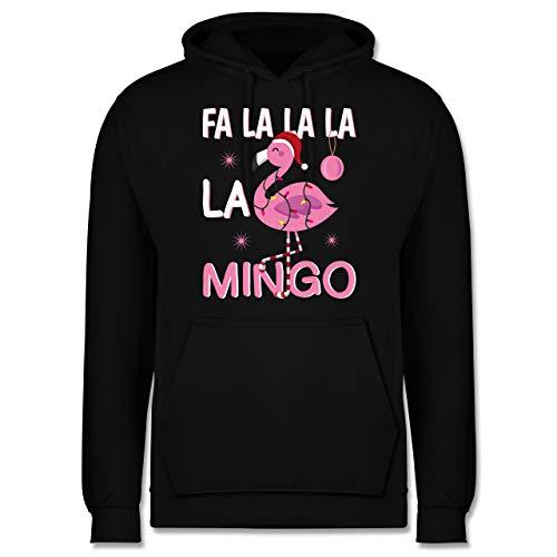 Weihnachten & Silvester - FA la la la la Mingo Flamingo - XL - Schwarz - Flamingo - JH001 - Herren Hoodie und Kapuzenpullover für Männer