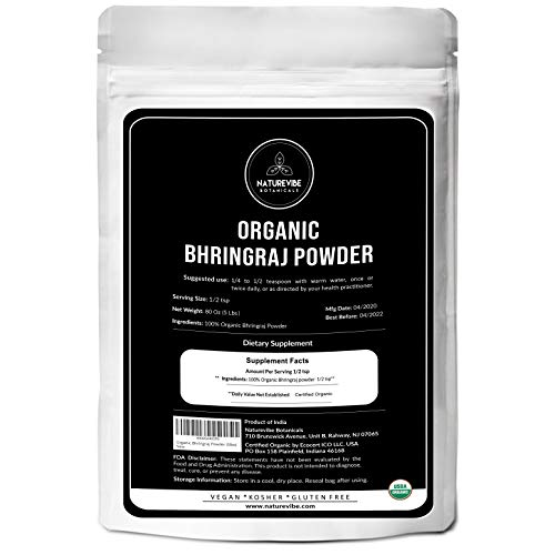 Naturevibe Botanicals USDA Organic Bhringraj Powder, 5lbs | Eclipta Alba | Non-GMO and Gluten Free |100% Pure & Natural | Supports Immunity System