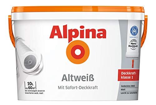 Alpina 5 L. &10 L. weiße Wandfarben für Innen, verschiedene Eigenschaften (10 Liter, Alpina Altweiß - gedecktes Weiß)