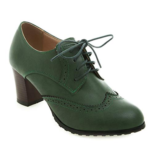 MIOKE Women's Lace Up Wingtip Pump Oxfords Brogues Perforated Chunky Block High Heel Vintage Dress Shoes Green