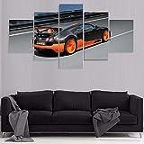 IKLOP Lienzo 5 Piezas Bugatti Veyro 5 Piezas Cuadro sobre Lienzo Murales Pared Hogar Pasillo Decor Arte Pared Abstracto HD Impresión Foto150X 80Cm(Enmarcado)