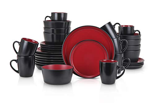 Stone Lain Stoneware Dinnerware Set, Service For 8, Red and Black