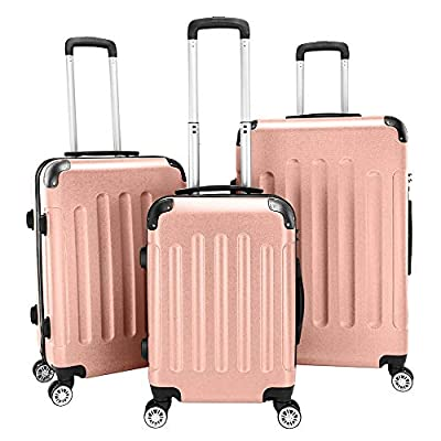 Travel Luggage 3 Piece Set 20'' 24'' 28'' ABS S...