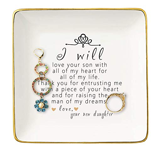 Gift For Mother of The Groom From Bride - Thank You For Raising The Man Of My Dreams – Ceramic Jewelry Holder Ring Dish Trinket Tray – Wedding Gifts - Bridal Shower Gifts