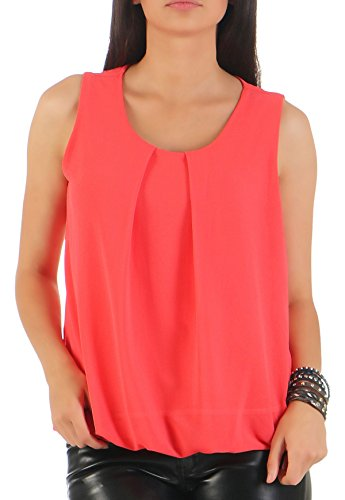 Malito Damen Bluse ärmellos   Tunika mit Rundhals   leichtes Blusenshirt   Elegant - Shirt 6879 (Coral)