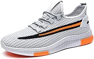 2019 Mesh Men Sneakers Casual Shoes Men Casual Shoes Lightweight Breathable mesh Men's Sneakers Shoes Tenis Masculino (8.5, Grey Orange)
