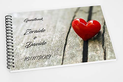 Guestbook matrimonio - libro dediche e auguri invitati personalizzato cuore rosso