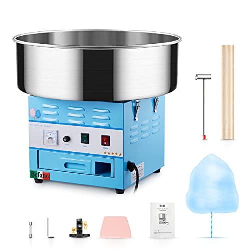 Befano Zuckerwattemaschinen Elektrisch 1030W, Ø46,5CM Abnehmbarer Edelstahlbehälter 10 Sekunden 1 Ausbeute mit Zuckerlöffel Teigschaber Schublade für Geburtstagsfeier Fiesta(Blau mit Schublade)