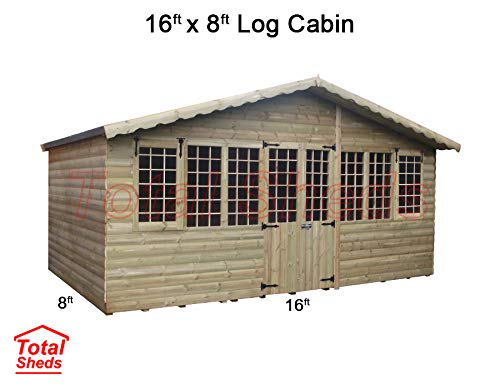 Total Sheds 16ft (4.8m) x 8ft (2.4m) Summer House Log Cabin Ultimate Cabin