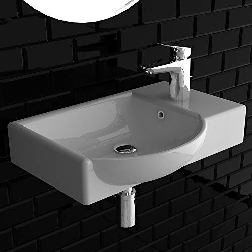 Alpenberger keramiek wastafel handwasbak met overloop 450 x 320 mm in elegant design | Door vuilafstotende oppervlak eenvoudig aflopen | ruimtebesparend en toch ruim.