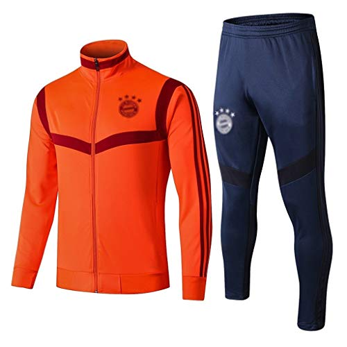 European Football Club Männer Fußball Sweatshirt Langarm Frühling und Herbst Sport orange Trainings-Uniform (Top + Pants) -ZQY-A0379 (Color : Orange, Size : S)