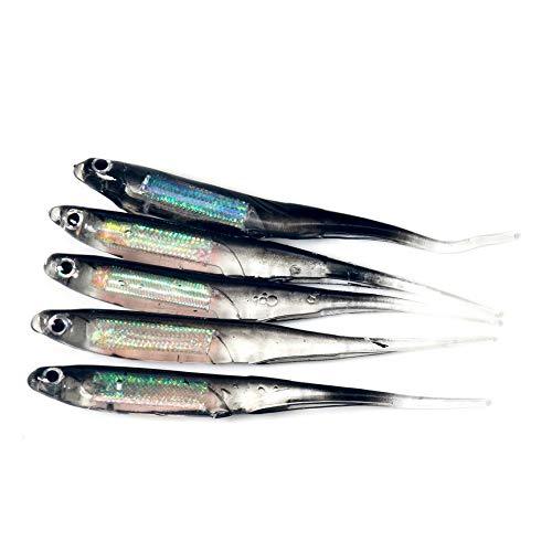 Peanutaoc 5 Stks/SET Kleurrijke Wobblers Vissen Lokken Gemakkelijk Shiner Zwembadje Siliconen Zacht aas Dubbele Kleur Karper Kunstmatig Zacht Lure