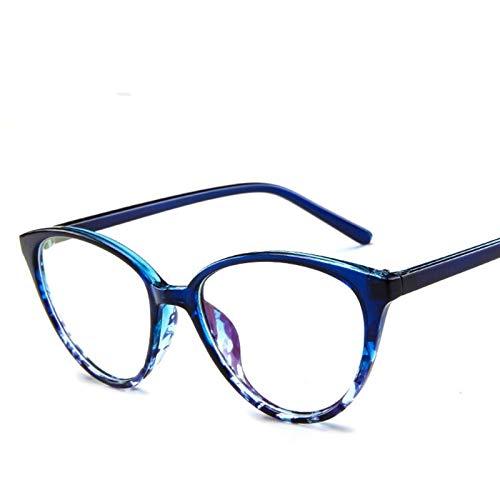 CHENGTAO Mujeres Gato Ojo Gafas Hombres Glasse Marco Ojo Gafas Computadora Transparente Marco Claro (Frame Color : Blue)